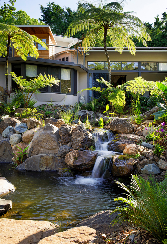 Thanks to Mitch David of [Water And Stone], the backyard has been landscaped to resemble a natural waterfall and pond.