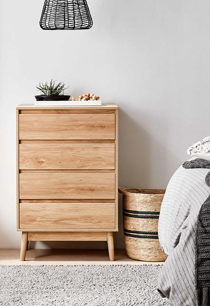 "Thorne 4-Drawer Chest, $99, [Kmart](https://www.kmart.com.au/product/thorne-4-drawer-chest/3380804|target=""_blank""