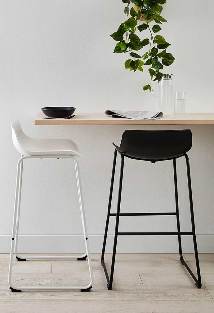 "Bar Stool – Black and White, $49 each, [Kmart](https://www.kmart.com.au/product/bar-stool---white/3380820|target=""_blank""