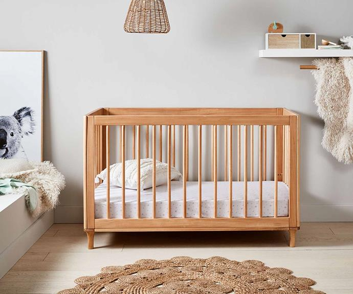 "Wooden Cot in Oak Colour, $299, [Kmart](https://www.kmart.com.au/product/wooden-cot-in-oak-colour/3236876|target=""_blank""