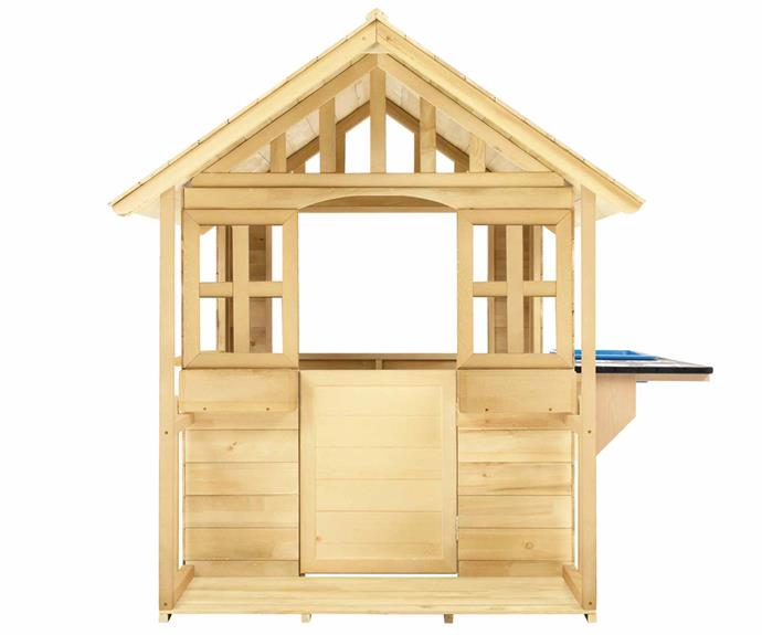 "Wooden Cubby House with Veranda and Kitchen, $399, [Kmart](https://www.kmart.com.au/product/wooden-cubby-house-with-veranda-and-kitchen/3221824|target=""_blank""