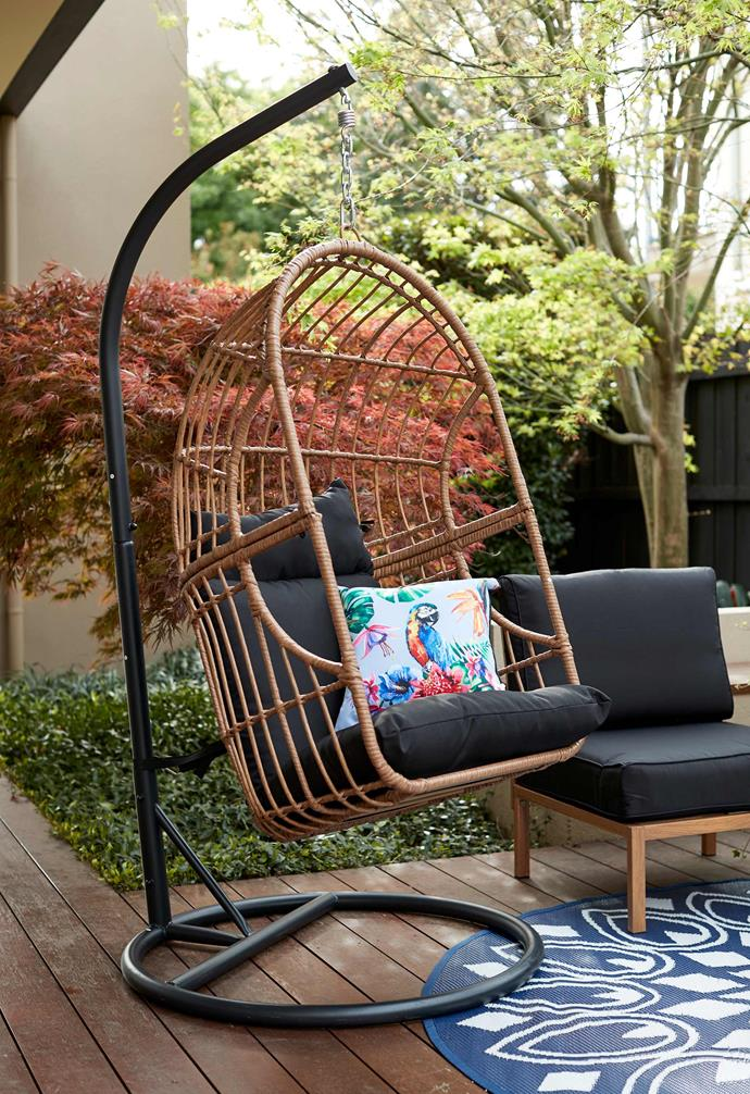 "Outdoor woven egg chair, $249, [Kmart](https://www.kmart.com.au/product/outdoor-egg-chair/3208848|target=""_blank""