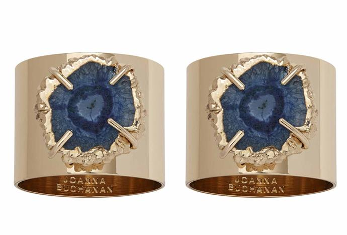 """**Joanna Buchanan Crystal Quartz Bird Napkin Ring – Indigo, $171/set of 2, [Amara](https://www.amara.com/au/products/crystal-quartz-bird-napkin-ring-indigo