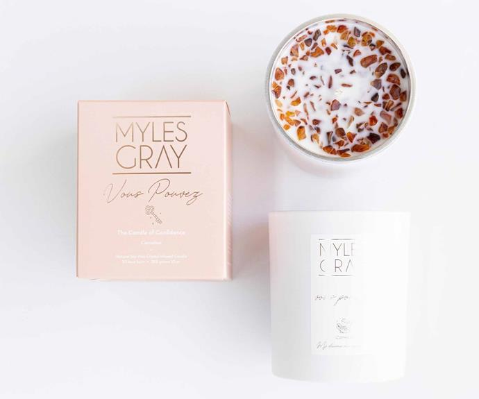 """**Vous Pouvez – The Candle of Confidence, $54.95, [Myles Gray](https://mylesgray.com.au/collections/crystal-infused-soy-candles/products/vous-pouvez-you-can