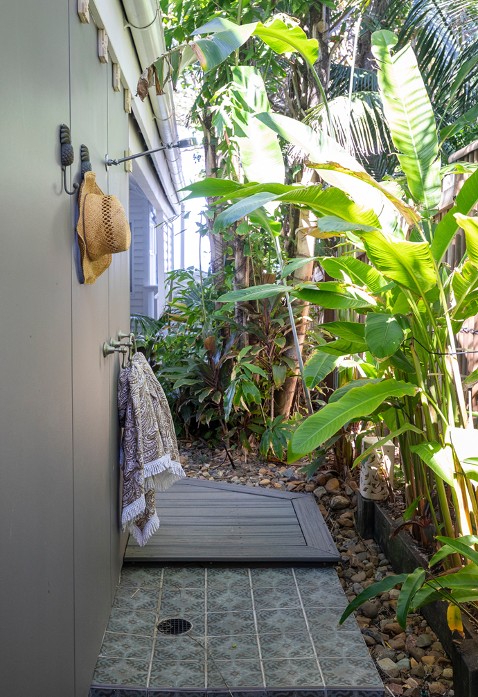 An outdoor shower is perfect for washing off sandy feet.