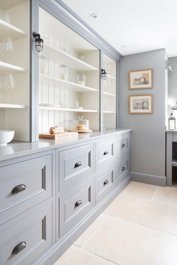 "Stone flooring and a delicate blue coat of paint on the side board create a fresh, luxurious butler's pantry space in this [Humphrey Munson designed home](https://www.pinterest.com.au/pin/AbBtFq1KbAJ_Zt7oEHv_NbvxMH14bdchPzQ2iDZ9ncKn5oMVb7RIyCQ/|target=""_blank""