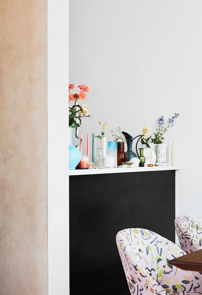 Inside the Sydney home of a PR-savvy accessories designer, fashion items are displayed alongside inflorescent homewares.