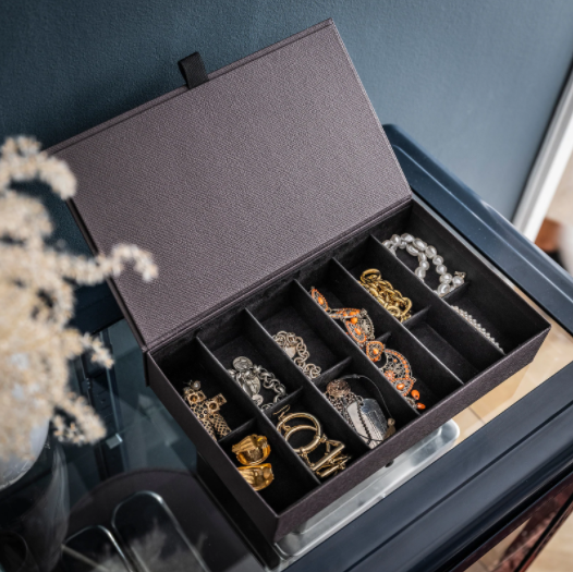 """Anilinare Jewellery box with compartments in Dark brown, $15, [Ikea](https://www.ikea.com/au/en/p/anilinare-jewellery-box-with-compartments-dark-brown-90476767/