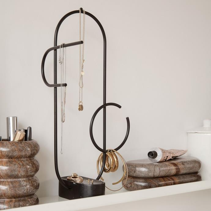 """ferm LIVING Obu Jewellery Stand Black, $169, [Design Stuff](https://www.designstuff.com.au/product/ferm-living-obu-jewellery-stand-black/?gclid=Cj0KCQiAyJOBBhDCARIsAJG2h5ctEzXYoNZv6l45-4NdMI9TJD8EGA82kOIBuIlpZmB4PpPGL5K6My0aAjgcEALw_wcB
