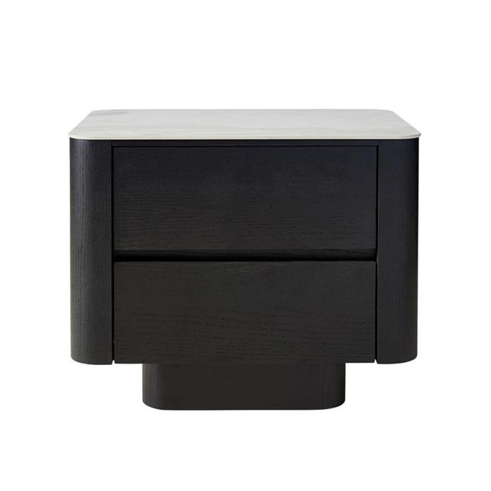 "**Cheney bedside table, $875, [Interiors Online](https://interiorsonline.com.au/products/cheney-bedside|target=""_blank""
