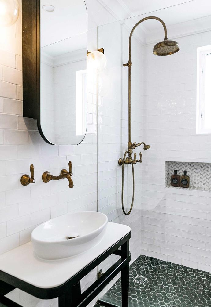 "**Ensuite** The Kings designed their bathroom to reflect the style of the original house. Nero Marquina hexagon tiles and Roc satin white subway tiles, both [Teranova](https://teranova.com.au/|target=""_blank""|rel=""nofollow""). Nicolazzi brass tapware plus basin and mirror, [Reece](https://www.reece.com.au/|target=""_blank""|rel=""nofollow""). Sconces, [Beacon Lighting](https://www.beaconlighting.com.au/|target=""_blank""|rel=""nofollow"")."