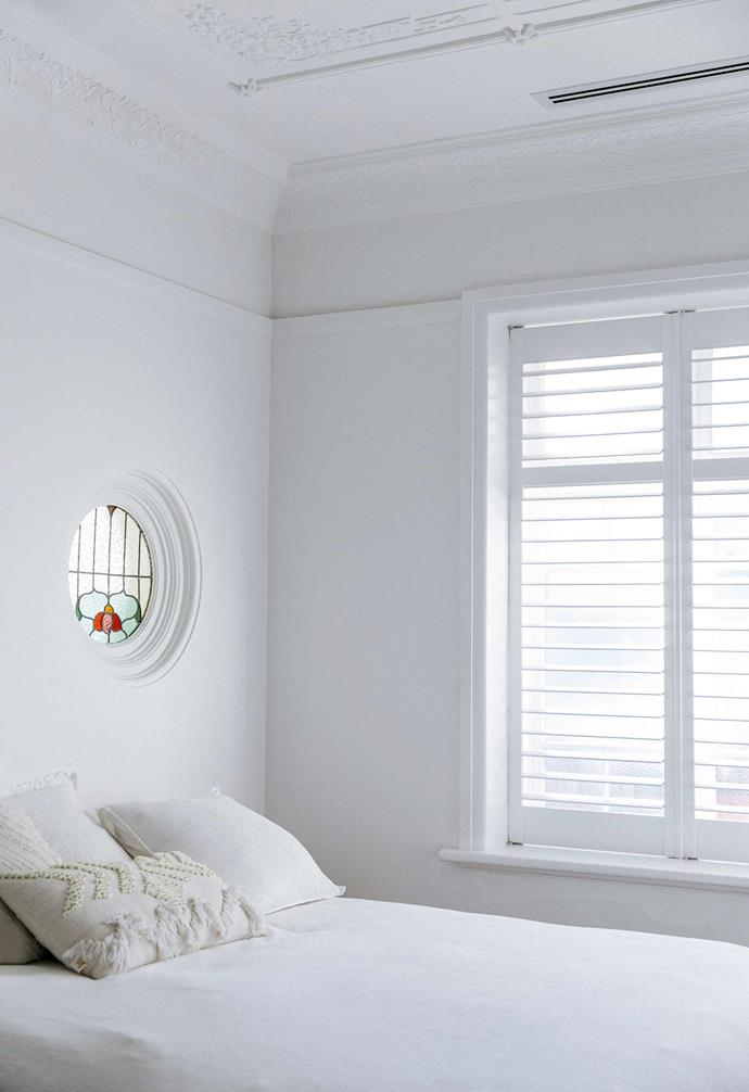 """**Main bedroom** The main bedroom is a lesson in pared-back minimalism. Bed linen, [Country Road](https://www.countryroad.com.au/