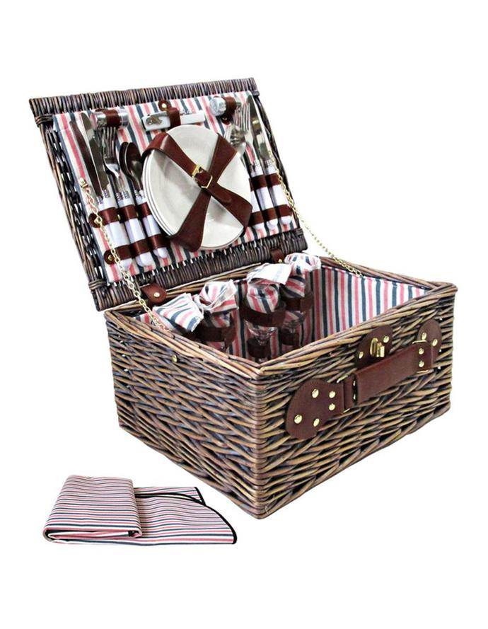 """<P>**Alfresco 4 person picnic basket, $114.95, [Myer](https://www.myer.com.au/p/alfresco-4-person-picnic-basket