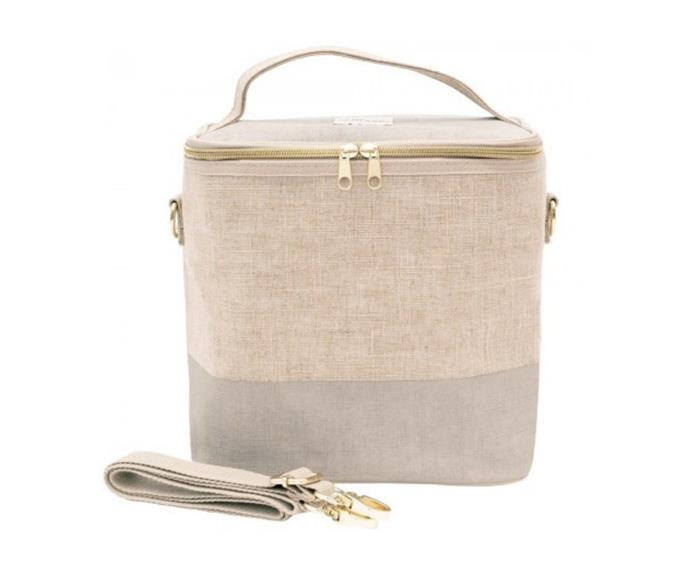 """<P>**SoYoung large raw linen insulated cooler bag, $46.95, [Biome](https://www.biome.com.au/soyoung-insulated-lunch-bags/23161-soyoung-large-raw-linen-insulated-cooler-bag-cement.html