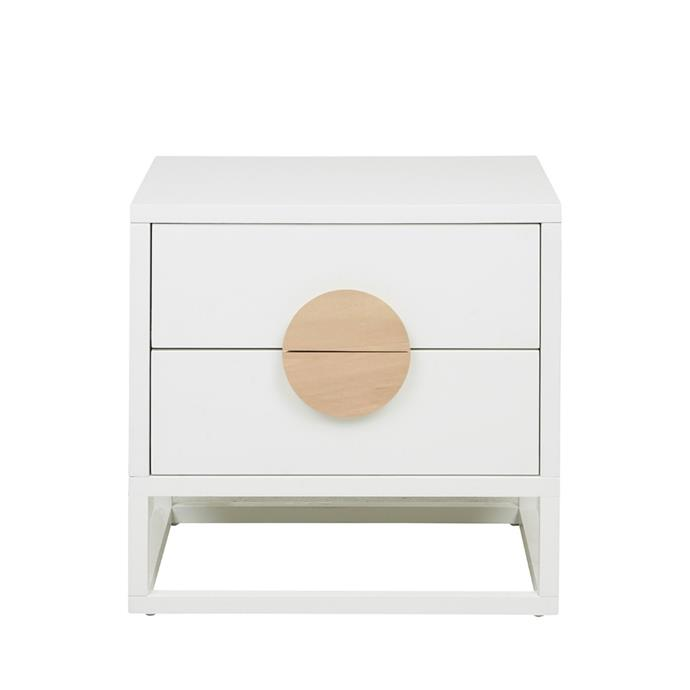 "**White Idril bedside table, $469, [Temple & Webster](https://www.templeandwebster.com.au/White-Idril-2-Drawer-Bedside-Table-HAVANA-BEDSIDE-DESO1208.html|target=""_blank""
