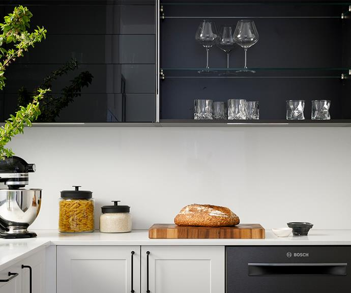 "Kinsman Kitchen's [Platinum Range black glass climber cabinets](https://kinsman.com.au/news/the-block-2020-kitchens-revealed/|target=""_blank""
