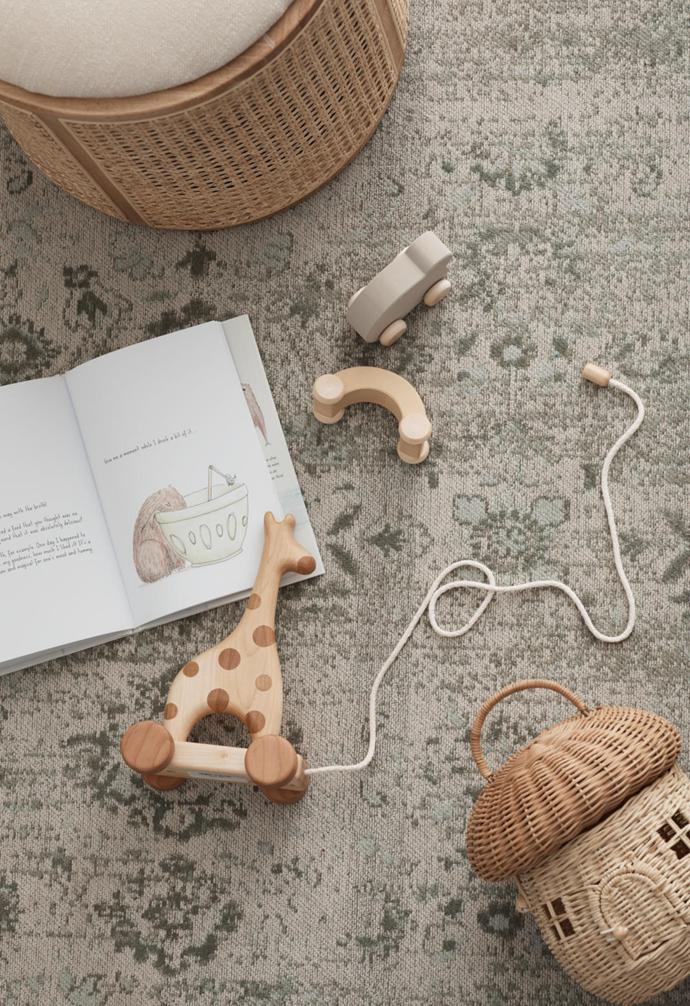 Mushroom basket, $69, Olli Ella. Amelie giraffe toy, $116, I Am A Capybara book, $35, and Cart toy, $49, Kido Store.