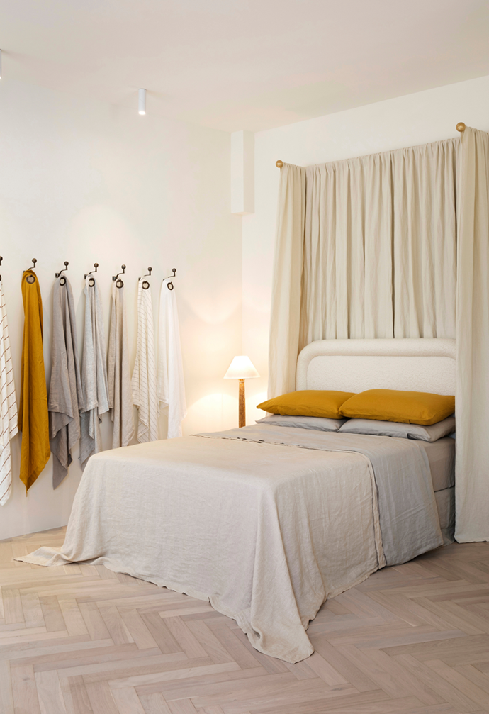 "Hanging linen samples are draped against the wall of the store as art in [Cultiver's Mosman store](https://www.homestolove.com.au/cultiver-store-mosman-21957|target=""_blank""), allowing the customers to feel and match their linens."