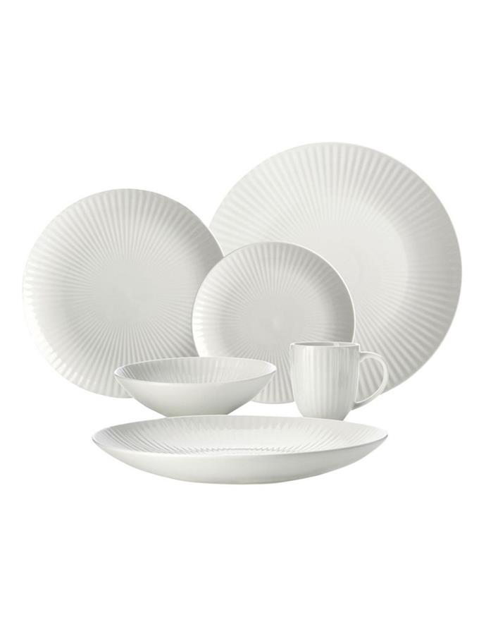 """**REGAL**<p> <p> Fluted glassware and ribbed, tactile fabrics are having a moment, and this exquisite dinnerware set is perfectly on trend. With elegant fan-like lines, it will be a subtle feature on your table and a timeless favourite in any home.  <p> <p> 'Radiance' Entertainer's Set 18pc, $199.95 from [Myer](https://www.myer.com.au/p/maxwell-williams-radiance-entertainers-set-18pc-gift-boxed