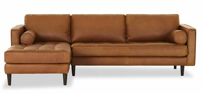"""**Draper Leather Chaise Lounge, $4799, [Lounge Lovers](https://www.loungelovers.com.au/draper-leather-chaise-tan-left