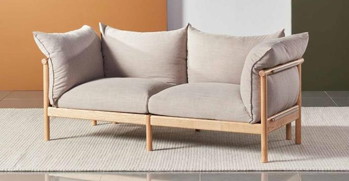"""**Olivia 2-Seat Sofa, $2999, [Icon By Design](https://www.iconbydesign.com.au/Olivia-2-Seat-Sofa-Solid-Oak-Stone-Beige-Fabric-85