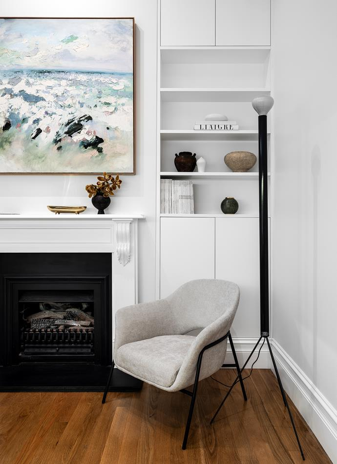 Artwork by Colin Pennock. Fireplace, Jetmaster. Luminator floor lamp, Euoroluce. Chair, MCM House.
