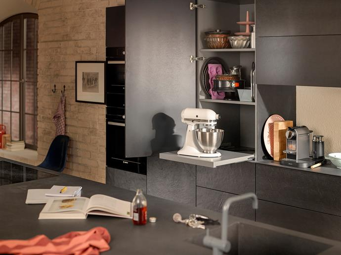 Blum's pull-out shelf lock is designed with durability, style and functionality in mind. They are versatile, secure and can be easily added to existing cupboards or storage spaces in any room of the home.