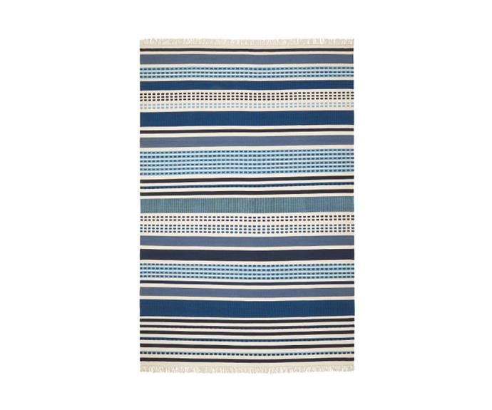 """<P>**VONSILD handmade rug, on sale at $319, available at [IKEA](https://www.ikea.com/au/en/p/vonsild-rug-flatwoven-handmade-assorted-blue-shades-50438541/