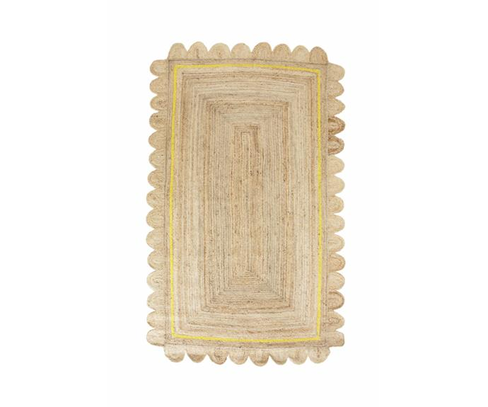 """<P>**Scalloped jute rug in yellow, starting from $799 (285 x 165cm), available at [Tigmi Trading](https://tigmitrading.com/collections/rugs-all/products/scalloped-jute-yellow