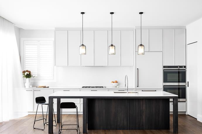 Normann Copenhagen 'Just' barstools, HG Furniture Solutions. Pendant lights, About Space. Ceramics by Katherine Watson and Brett Stone. Appliances, Fisher & Paykel. Mixer tap, Häfele. Essastone Milano Venato benchtops. Door hardware, Kethy. Joinery by Mayneline Joinery (throughout).