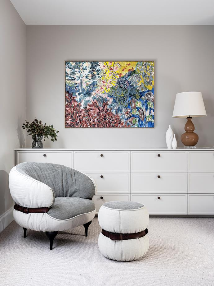 Artwork by Amy wright. Diesel by Moroso 'Chubby Chic' armchair and matching ottoman, Hub Furniture. Ceramic vases by Janus et Cie. Custom sideboard by Mayneline Joinery, painted Resene Half Truffle. Cabinet knobs, Kethy. Chatsworth carpet Godfrey Hirst Carpets.