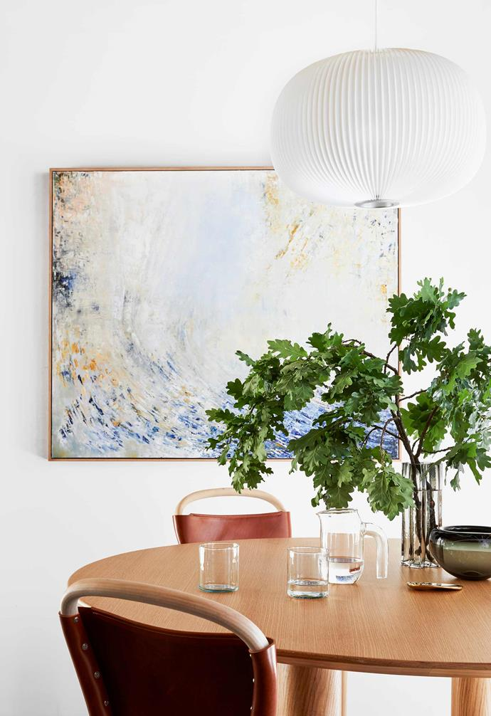 "**Dining area** A custom artwork by Stefania Reynolds titled W3 reinforces the relaxing vibe. Earth dining table, [Sarah Ellison](https://sarahellison.com.au/|target=""_blank""
