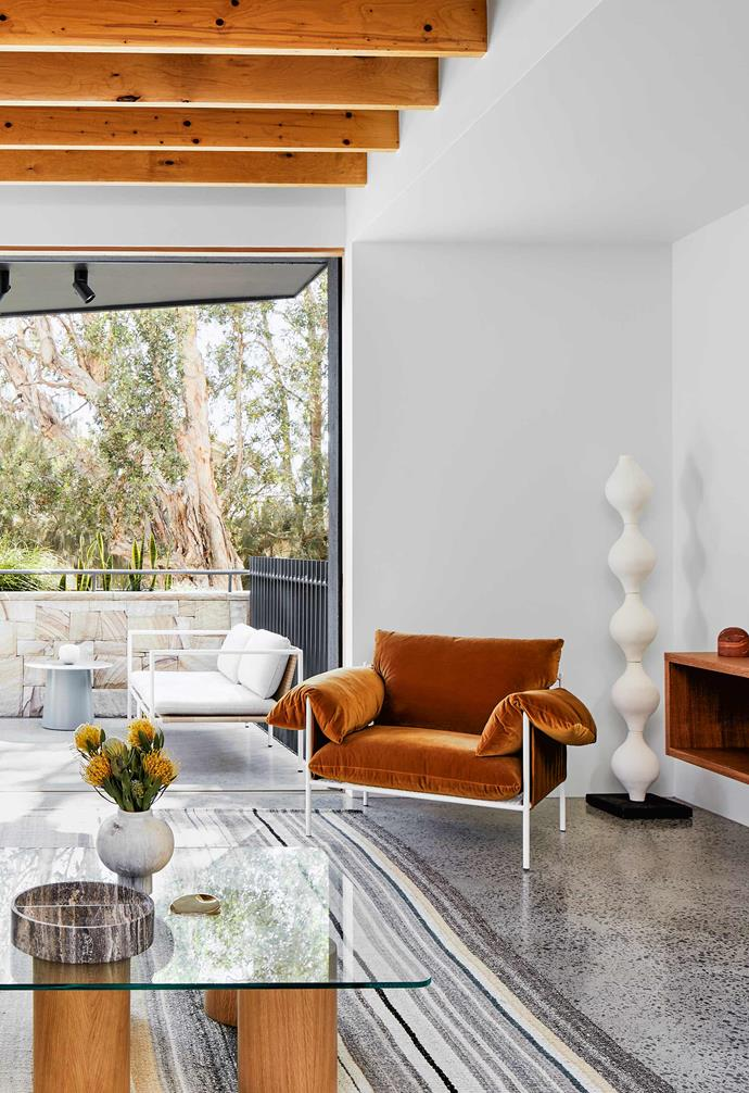 "**Indoor-outdoor flow** Outside are a Dog Days sofa and Circula low side table by [Blu Dot](https://www.bludot.com.au/|target=""_blank""