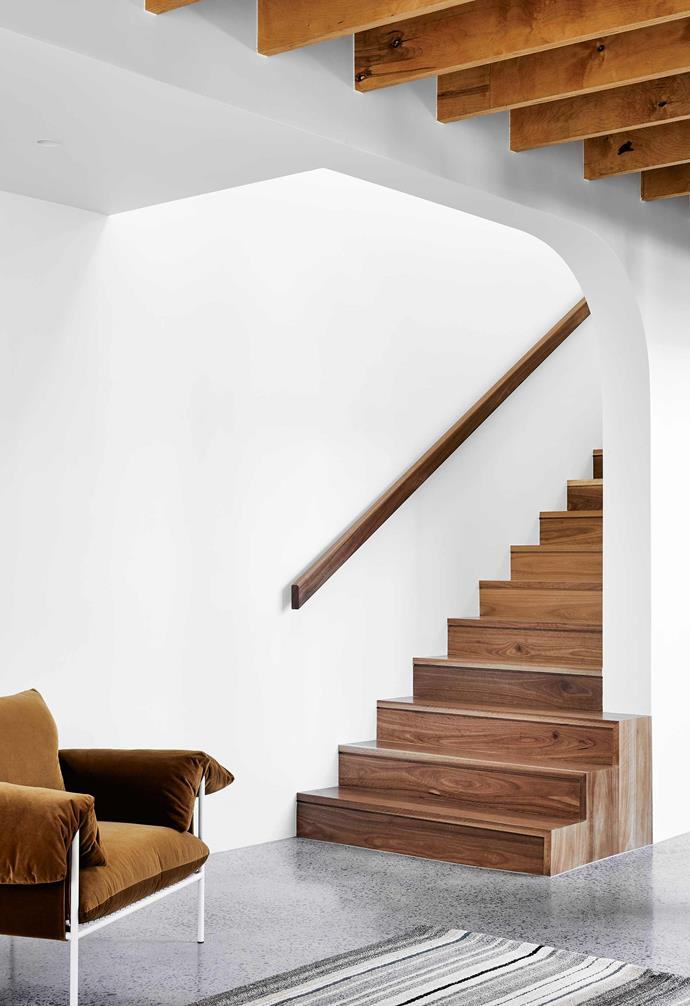 **Stairwell** Spotted gum was used for the stairs and handrail.