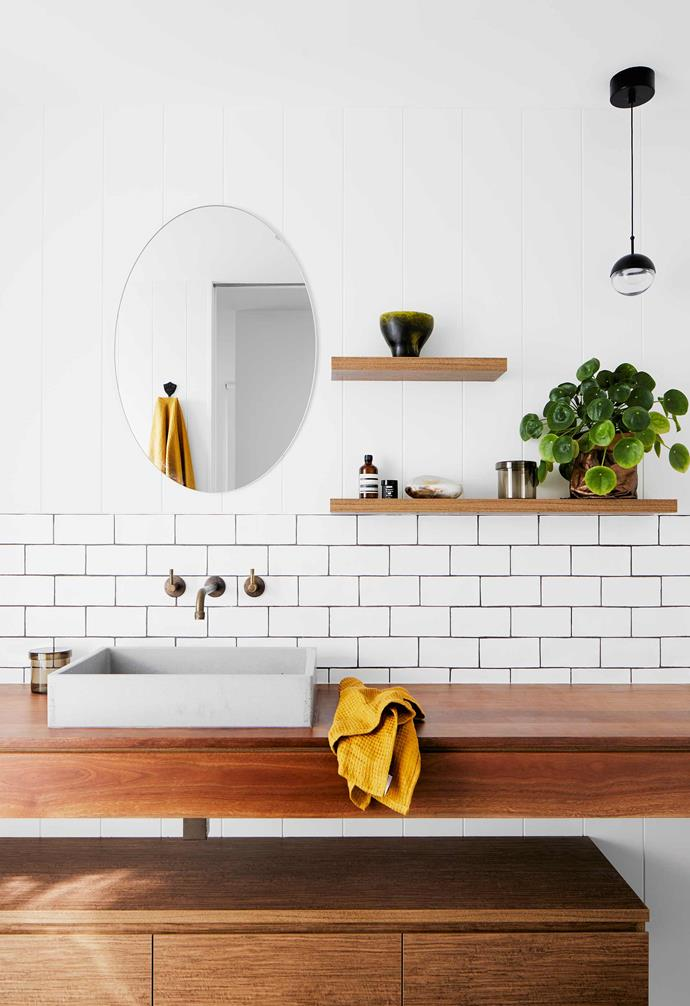 "**Ensuite** Warm wood features, with the bench in solid spotted gum and the under-bench storage in Coolum Spotted Gum veneer by [New Age Veneers](https://www.newageveneers.com.au/|target=""_blank""