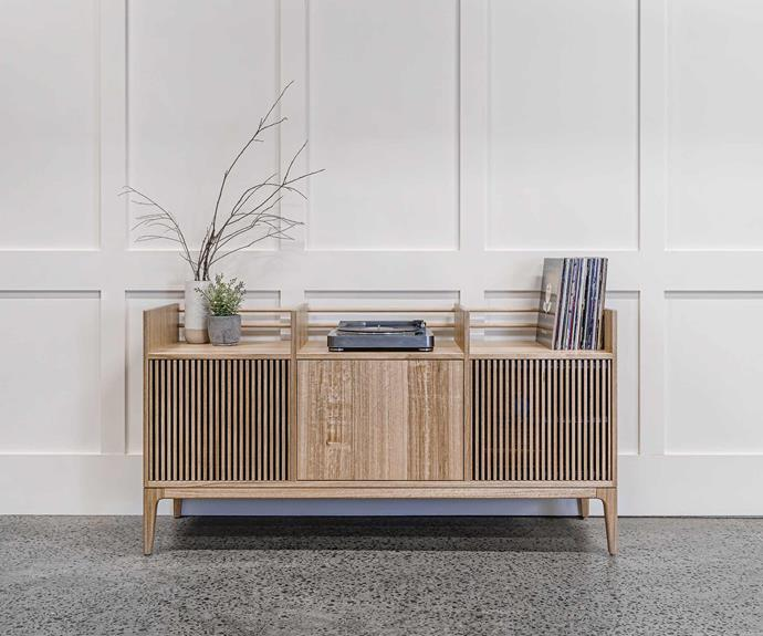 This incredible record cabinet is bound to be the centre of attention in any space.
