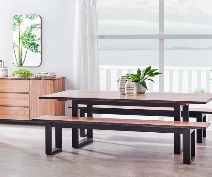Harvey Norman's Bonadiesi dining table and benches, available in six stains.