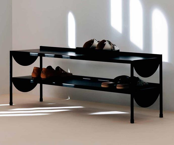 This made-for-display shoe rack is a practical and stylish storage option.