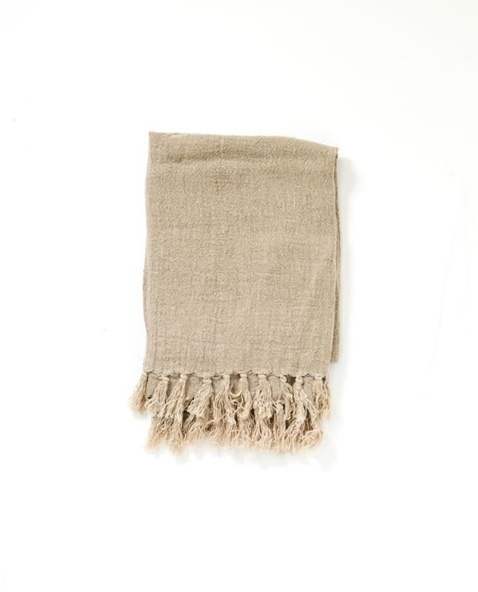 """Texture is the hero of this beautiful linen throw. With a natural palette that is perfect for a minimal or layered home, the Maxime throw lets the material be the hero with soft tassels and a delicate crushed feel to the touch.  <br><br> Maxime Linen Throw in Natural, $159, [Papaya](https://www.papaya.com.au/christophe-linen-blanket-natural