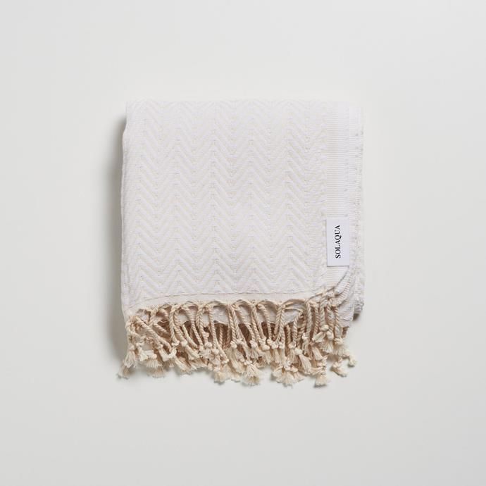 """Solaqua have become the stylish towel of choice this summer, so select *add to cart* for this textured beach towel. Although they offer a range of towels in a subtle array of stripes, we love the minimal herringbone design of the 'Hyams.'  <br><br> Hyams beach towel, $119.95, [Solaqua](https://www.solaqua.net.au/collections/cotton-towels/products/hyams