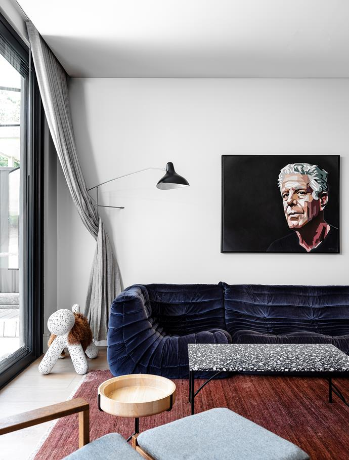 The portrait of Anthony Bourdain is by Chico Cristobal. DCW Editions 'Mantis' wall lamp, Spence & Lyda. Magis 'Dalmation Puppy', Cult. Børge Mogensen vintage chair, Nord Modern.  Curtains, Marlow & Finch.