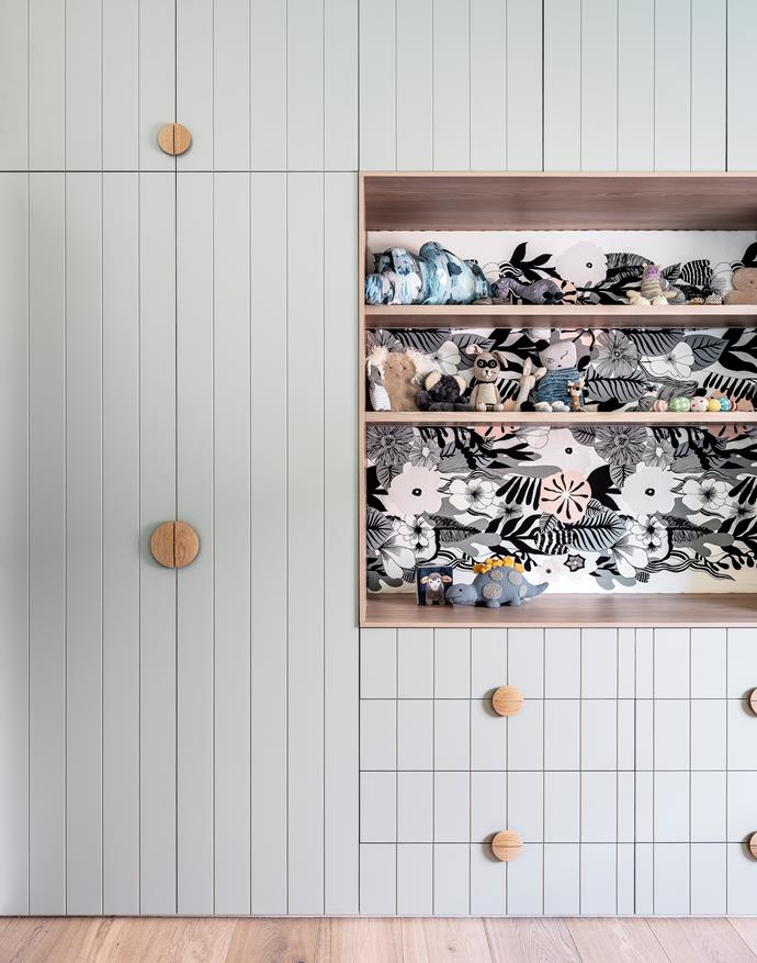 Joinery by Joey Australis Joinery/The Designer-Renovator, painted Dulux Pozieres. Fabric (shelving insert), Marimekko.