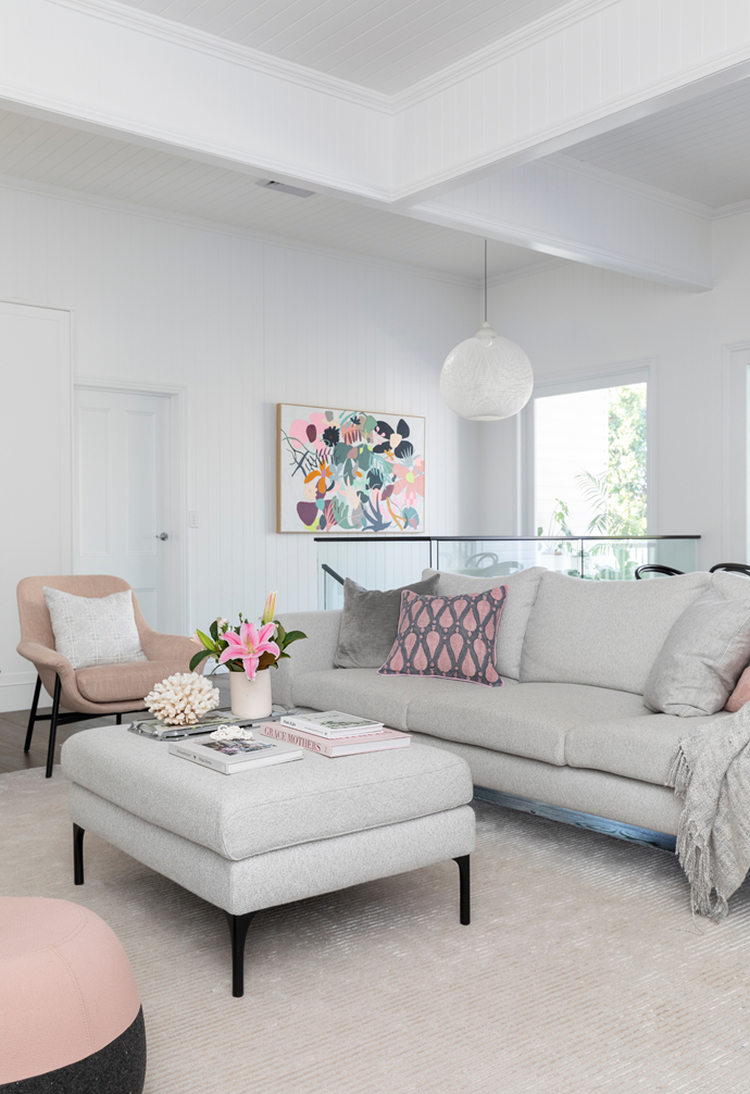 A 'Plaza' sofa and matching ottoman from Molmic create a neutral base for pops of pink, care of cushions by Unique Fabrics and Style Revolutionary and a 'Seymour' blush armchair from King Living. Underfoot, a Bayliss 'Marco' rug in Silver spreads a sense of serenity.