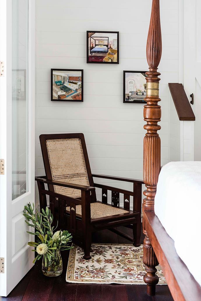 Vicki's artworks decorate the bedroom walls.