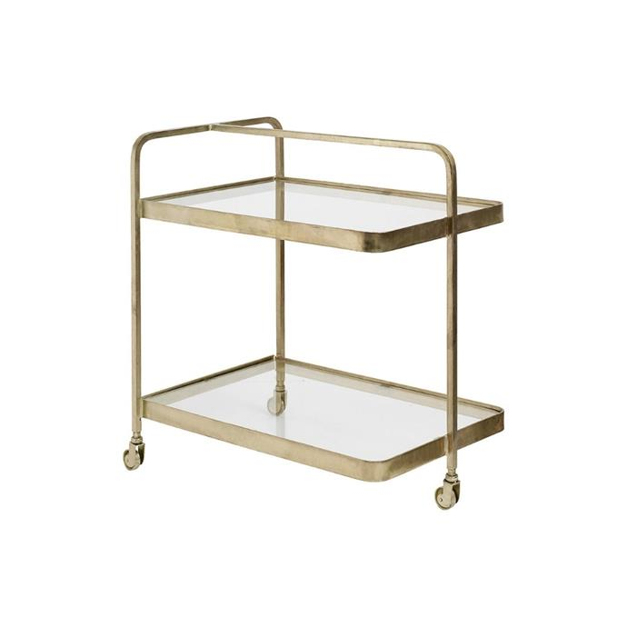 "**Nordal brass rectangle trolley, $1038, [Amara](https://www.amara.com/au/products/rectangle-trolley-brass|target=""_blank""