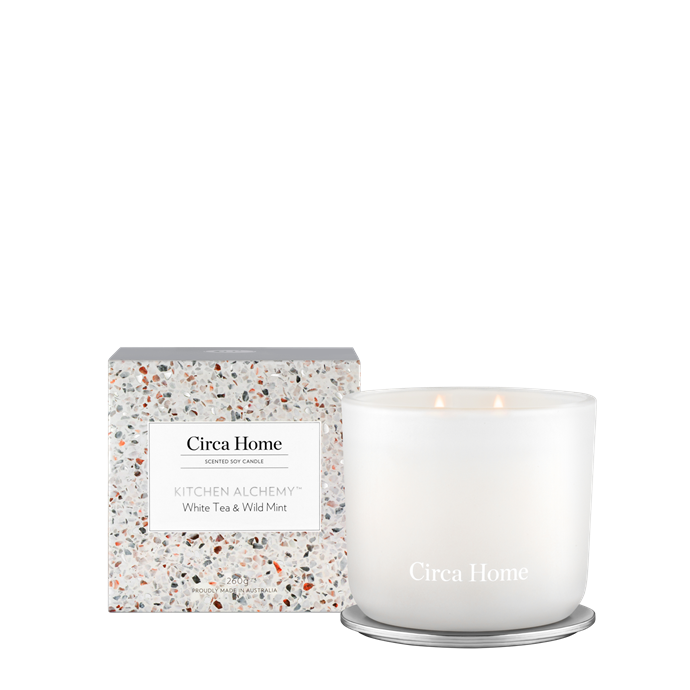 """**6.** Circa Home are adored for their sweet candles and their White Tea & Wild Mint is an ideal scent for the kitchen. It's subtle, tea-inspired calming scent will disguise any left-over odours and be the perfect companion to slow culinary adventures.  **White Tea & Wild Mint**, $39.95, [Circa Home](https://circahome.com.au/collections/scented-soy-candles/products/white-tea-wild-mint-classic-soy-candle?variant=32672255705225