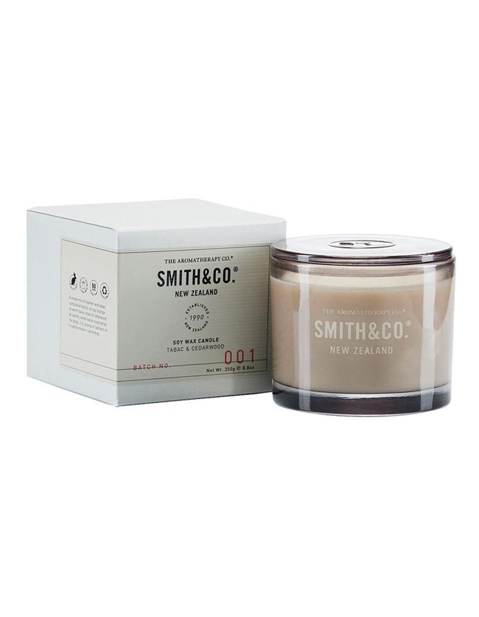 """**2.** The Aromatheraphy Company have joined forces with Smith & Co. to create a beautiful minimalist candle that we want to add to cart right now. In a simple but beautiful neutral glass canister the candle is a great unisex option for those who don't like anything too floral.  **The Aromatherapy Company Smith & Co Candle** 250g Tabac & Cedarwood, $29.95, [Myer](https://www.myer.com.au/p/the-aromatherapy-company-smith---co-candle-250g-tabac---cedarwood