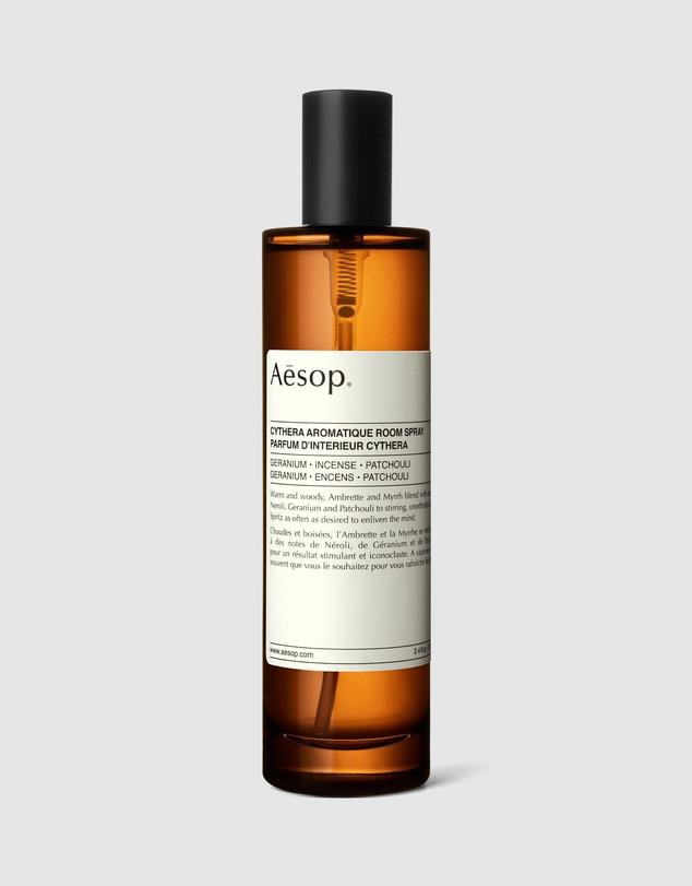 """**3.** When fashion favourites Aesop launched three room sprays we were not surprised to find them as perfectly perfumed as their signature creams. We love the woody, oriental and spicy notes of the Cythera. Plus, their signature amber glass canister are definitely easy on the eye.  **Aesop Cythera Aromatique Room Spray** 100mL, $63, [The Iconic](https://www.theiconic.com.au/cythera-aromatique-room-spray-100ml-1152108.html