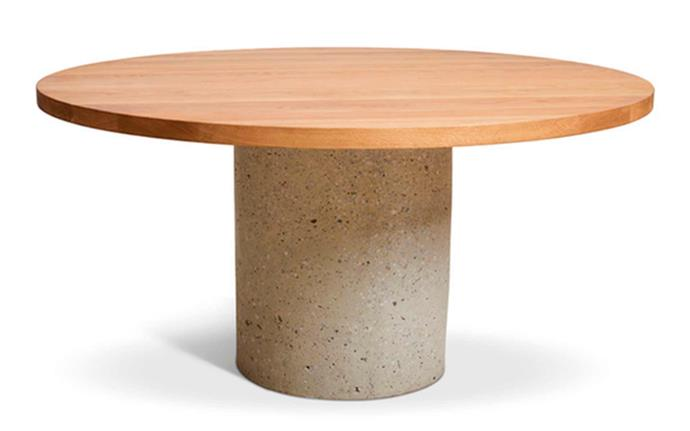 "**Round Concrete Cylinder Dining Table, from $4899, [Harpers Project](https://www.harpersproject.com/collections/dining-tables/products/concrete-cylinder-dining-table|target=""_blank""