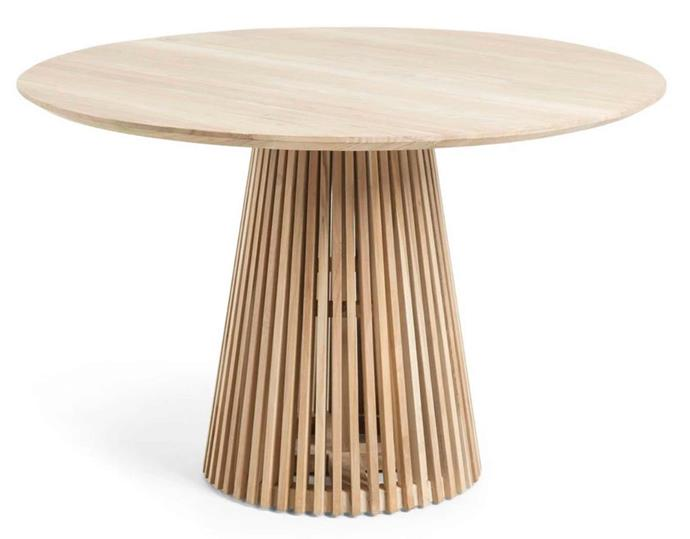 "**Slat Dining Table in Teak, $1369, [Interiors Online](https://interiorsonline.com.au/products/slat-dining-table-teak|target=""_blank""